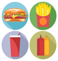Food and drink set flat style Burger coke chips ke vector image