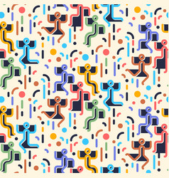 geometric abstract seamless pattern people vector image