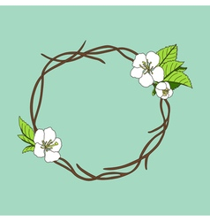 hand drawn wreath with cherry blossom vector image vector image