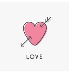 Heart arrow sign symbol Thin line icon Pink vector image