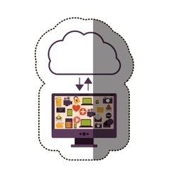 color sticker with cloud service with apps set vector image