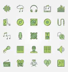colorful music icons set vector image vector image