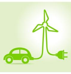 Eco car make a wind-mill icon vector image