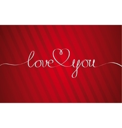 Love You Heart Hand drawn Lettering vector image vector image