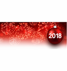 2018 new year banner with fireworks vector