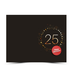 25 years anniversary decorated card template vector image