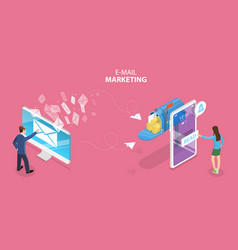 3d isometric flat concept mobile email vector image
