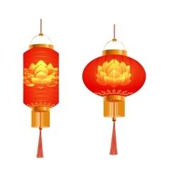 A set of orange Chinese Lanterns Lotus pattern vector image
