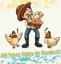All your eggs in basket idiom vector image