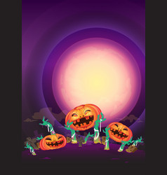 at night halloween pumpkin and zombies hands wave vector image
