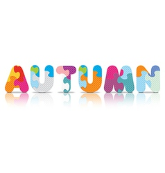 AUTUMN written with alphabet puzzle vector