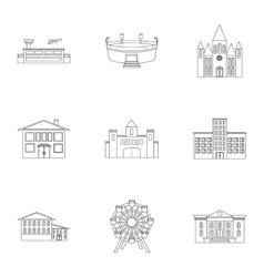 Building set icons in outline style Big vector