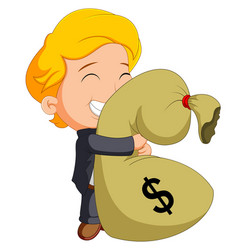 businessman holding bag of money vector image