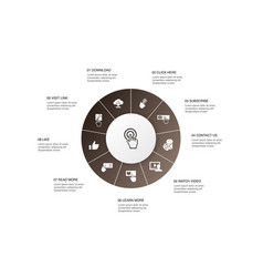Call to action infographic 10 steps circle design vector