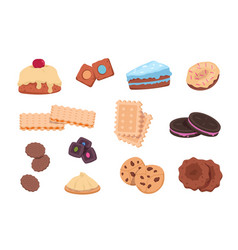 cartoon cookies chocolate snack and sweet bakery vector image