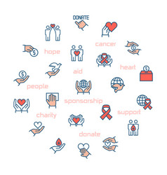 charity sponsorshipdonation and donor icons in vector image