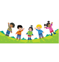 Children design template with kids and background vector