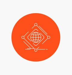 Complex global internet net web white line icon vector