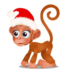 Cute monkey in a red cap of santa claus isolated vector