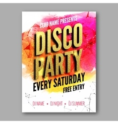 Disco Party Poster Template Night Dance Party vector image