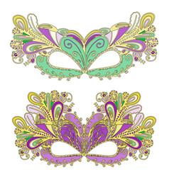 Doodle mardi gras carnival mask vector