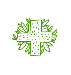 Doodle medical cross and green leaves - logo vector