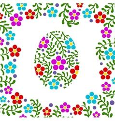 Easter egg floral background vector image
