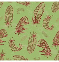 Ethnic seamless pattern with handdrawing feathers vector image