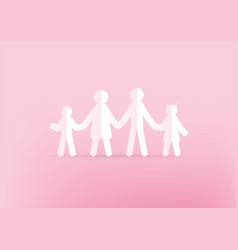 family paper holding hands on pink background vector image