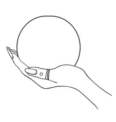 female hand holding magic crystal ball isolated vector image