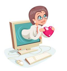female woman valentin day internet cute happy vector image