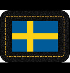 Flag of sweden icon on black leather backdrop vector