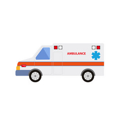 Flat cartoon emergency ambulance car vector