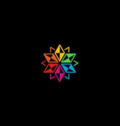 floral prism colorful logo design concept vector image