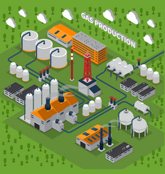 Gas production isometric composition vector