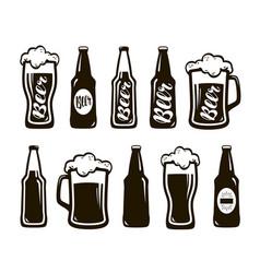 Glass of beer ale lager mug bottle set vector