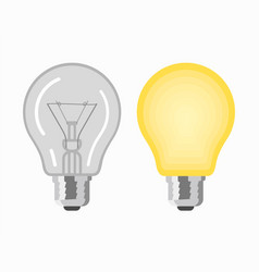 Glowing and turned off light bulbs vector
