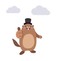 Groundhog showing thumbs up gesture flat vector