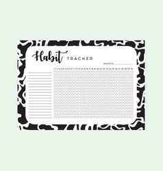 Habit tracker monthly planner habit tracker blank vector