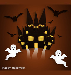 Halloween background with scary ghosts festive vector