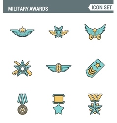 Icons line set premium quality military awards vector image vector image