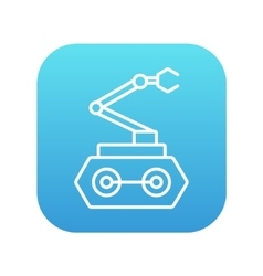 Industrial mechanical robot arm line icon vector image