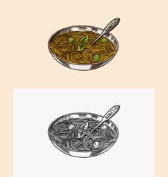 italian pasta with pesto sauce and basil pasta vector image