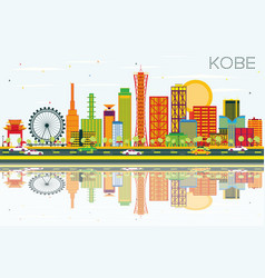 kobe skyline with color buildings blue sky and vector image