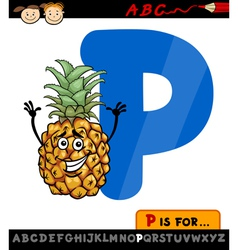 letter p with pineapple cartoon vector image vector image