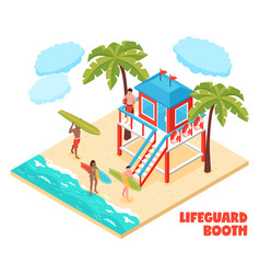 Lifeguard booth isometric composition vector