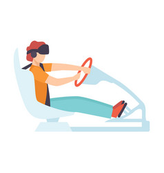 man driving car wearing virtual reality digital vector image