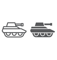 military tank line and glyph icon war and army vector image
