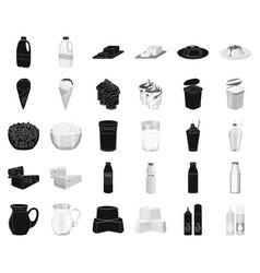 Milk product blackmonochrome icons in set vector