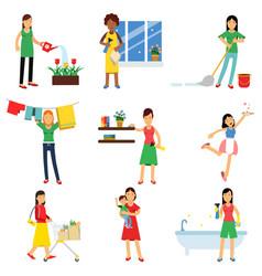 Modern housewife in housework activity set vector